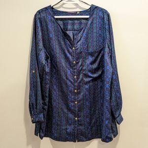 Dex satin teal print blouse 1X
